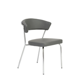 Draco Dining Chair In Gray With Chrome Legs - Set Of 4