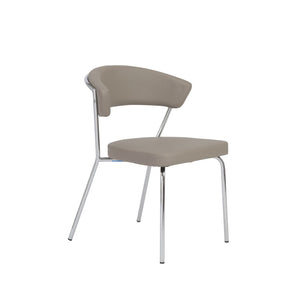 Draco Dining Chair In Taupe With Chrome Legs - Set Of 4
