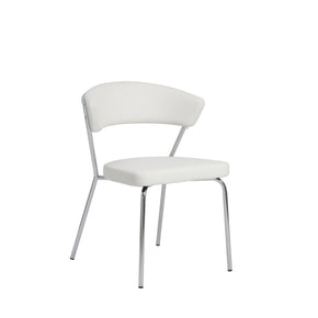Draco Dining Chair In White With Chrome Legs - Set Of 4