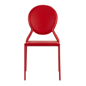 Isabel Stacking Side Chair In Red Leather - Set Of 2 Dining