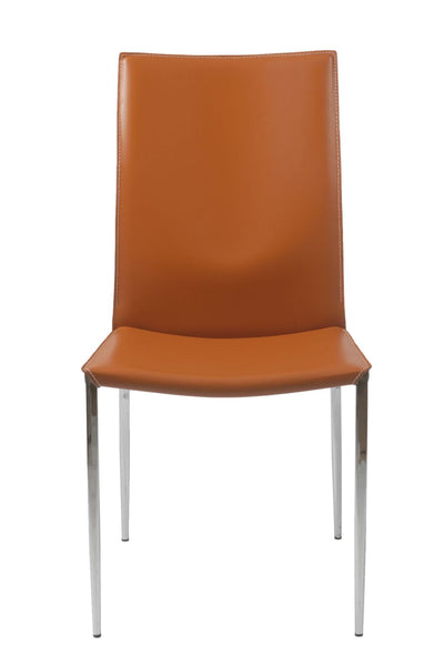 Admirable Max Dining Chair In Cognac Leather With Chrome Legs Set Of 2 Camellatalisay Diy Chair Ideas Camellatalisaycom