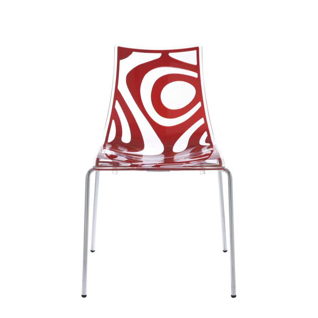 Wave Stacking Side Chair In Clear And Translucent Red With Chrome Legs Dining