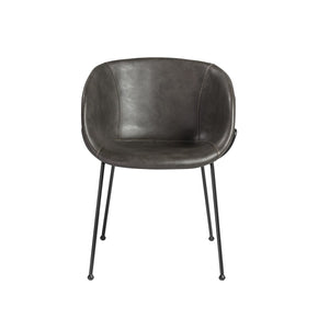 Zach Arm Chair With Dark Gray Leatherette And Matte Black Powder Coated Steel Frame Legs - Set Of 2 Dining