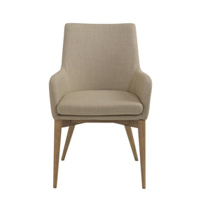 Calais Arm Chair In Tan With Walnut Legs - Set Of 2 Dining