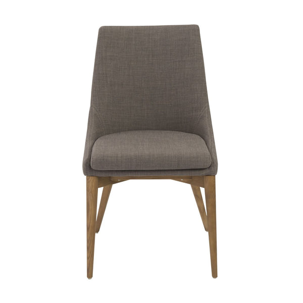 Calais Dining Chair In Dark Gray With Walnut Legs - Set Of 2