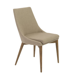 Calais Dining Chair In Tan With Walnut Legs - Set Of 2
