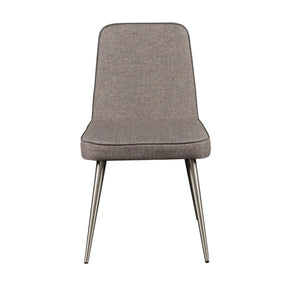 Esmoriz Side Chair In  Gray And With Brushed Stainless Steel Legs - Set Of 2 Dining