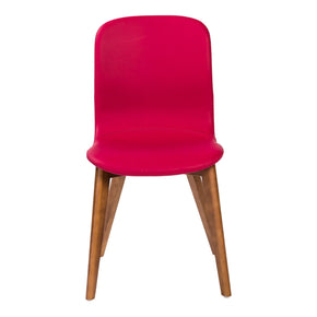 Mai Side Chair In Red Leatherette With Walnut Stained Solid Wood Legs - Set Of 2 Dining