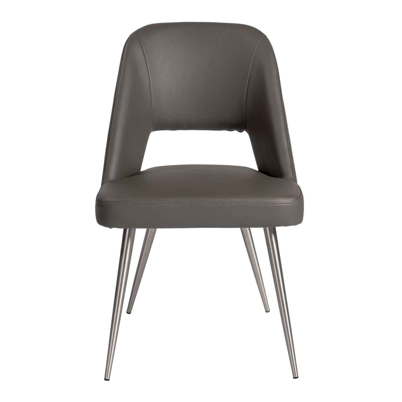 Blair Side Chair In Gray Leatherette With Brushed Stainless Steel Legs    Set Of 2 Dining ...