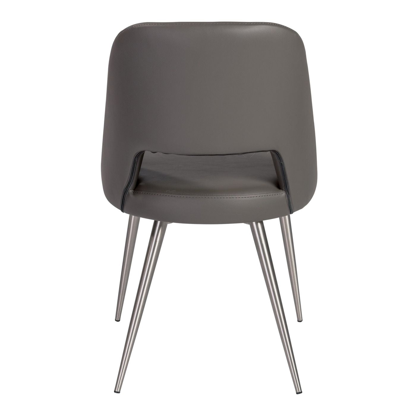 ... Blair Side Chair In Gray Leatherette With Brushed Stainless Steel Legs    Set Of 2 Dining ...