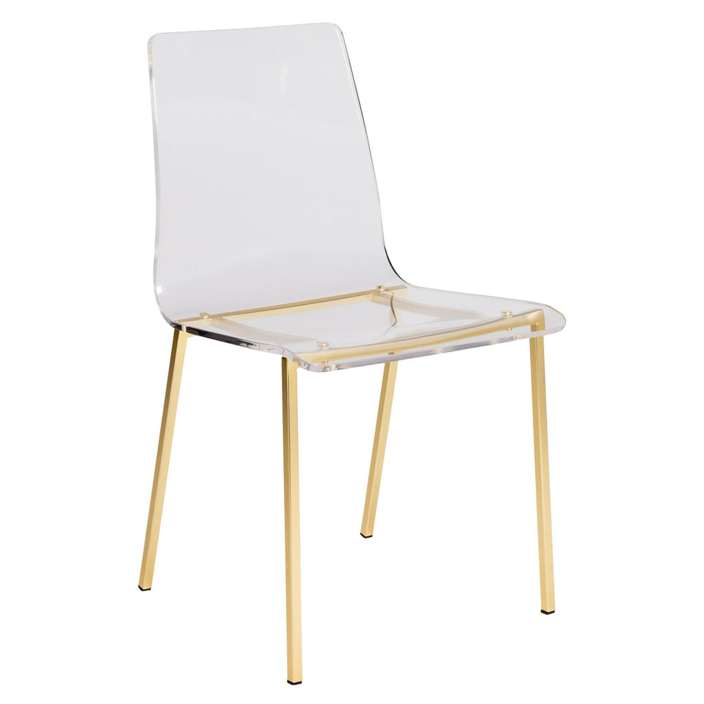 Dining Chairs - Euro Style EURO-80940MBG Chloe Dining Side Chair in Clear Acrylic with Matte Brushed Gold Legs - Set of 4 | 727511941362 | Only $1259.98. Buy today at http://www.contemporaryfurniturewarehouse.com