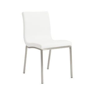 Scott Dining Chair In White With Brushed Stainless Steel Legs - Set Of 2