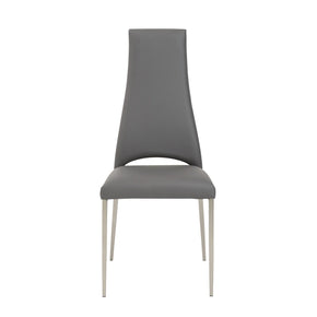 Tara Dining Chair In Gray Leatherette With Brushed Stainless Steel Legs - Set Of 4