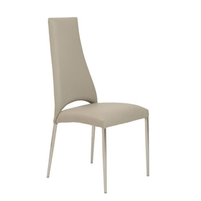 Tara Dining Chair In Taupe Leatherette With Brushed Stainless Steel Legs - Set Of 4