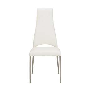 Tara Dining Chair In White Leatherette With Brushed Stainless Steel Legs - Set Of 4