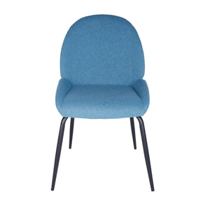 Amanda Side Chair In Blue With Matte Black Legs - Set Of 2 Dining
