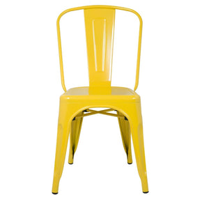 Tolix Style Chair Yellow Dining