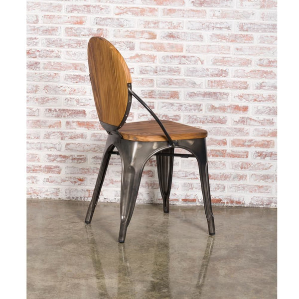 Metal Dining Chair Walnut