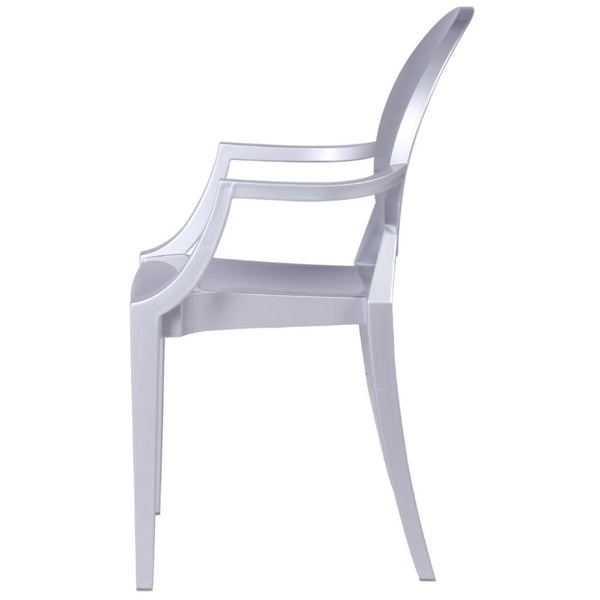 Clear Arm Chair Silver Dining
