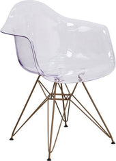 Allan Transparent Dining Side Chair With Gold Frame Clear