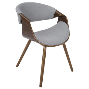 Curvo Chair Walnut Wood Grey Fabric Dining