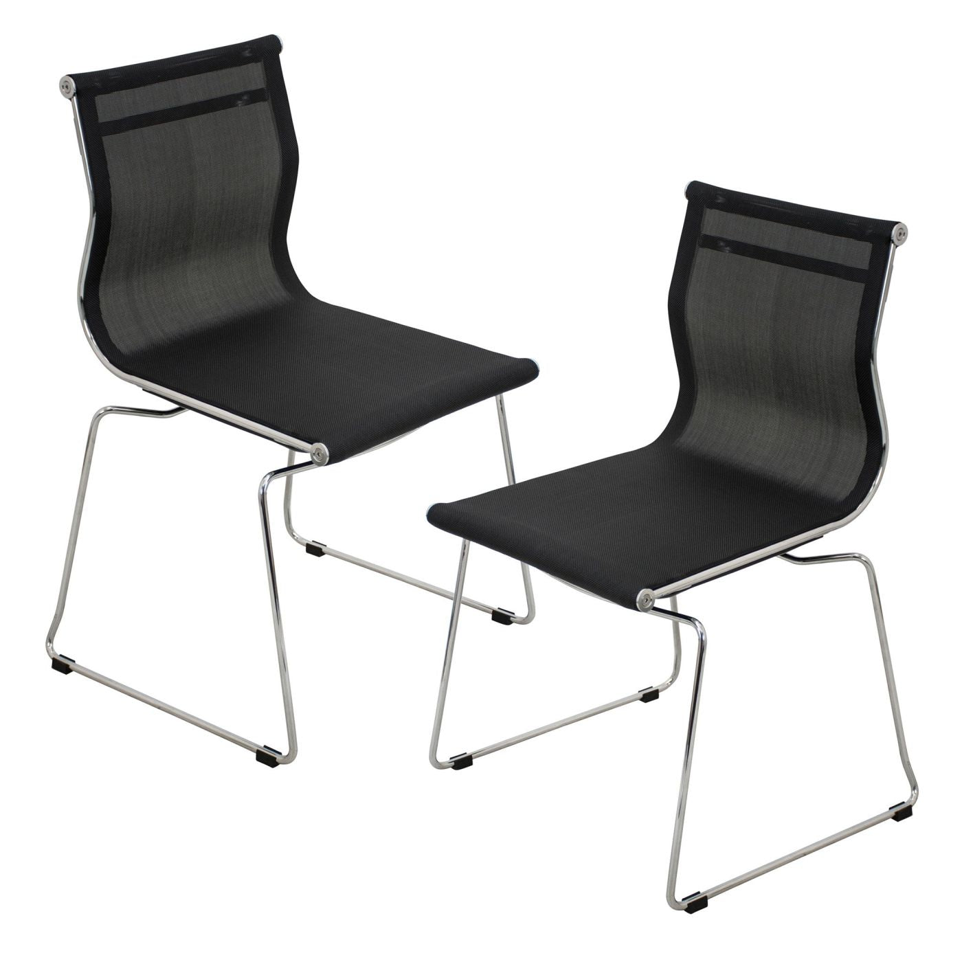 Mirage Chair Stackable   Set Of 2 Black Dining ...