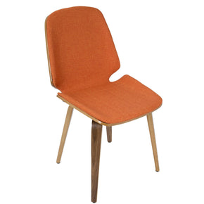 Serena Chair - Set Of 2 Walnut Wood Orange Fabric Dining