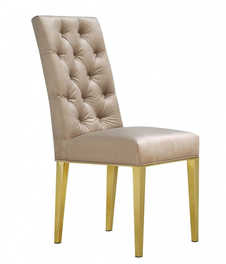 Amazing Buy Meridian 716Be C Capri Beige Velvet Dining Chair With Gold Legs Set Of 2 At Contemporary Furniture Warehouse Dailytribune Chair Design For Home Dailytribuneorg