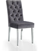 Dining Chairs - Meridian 732Grey-C Juno Deep Tufted Grey Velvet Dining Chair (set of 2) | 647899947353 | Only $364.80. Buy today at http://www.contemporaryfurniturewarehouse.com
