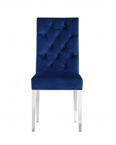 Dining Chairs - Meridian 732Navy-C Juno Deep Tufted Navy Velvet Dining Chair (set of 2) | 647899944987 | Only $364.80. Buy today at http://www.contemporaryfurniturewarehouse.com