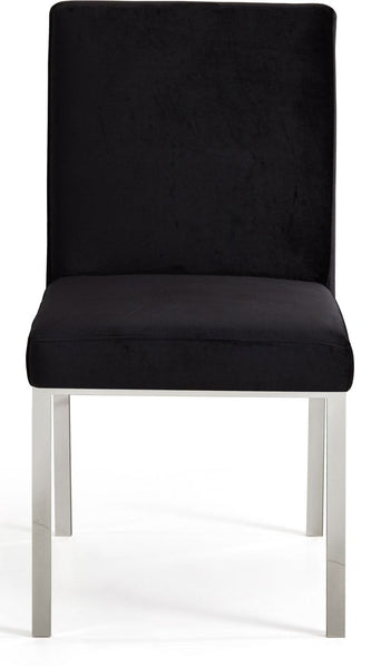 Meridian Opal Black Velvet Dining Chair Chrome Set Of 2 At