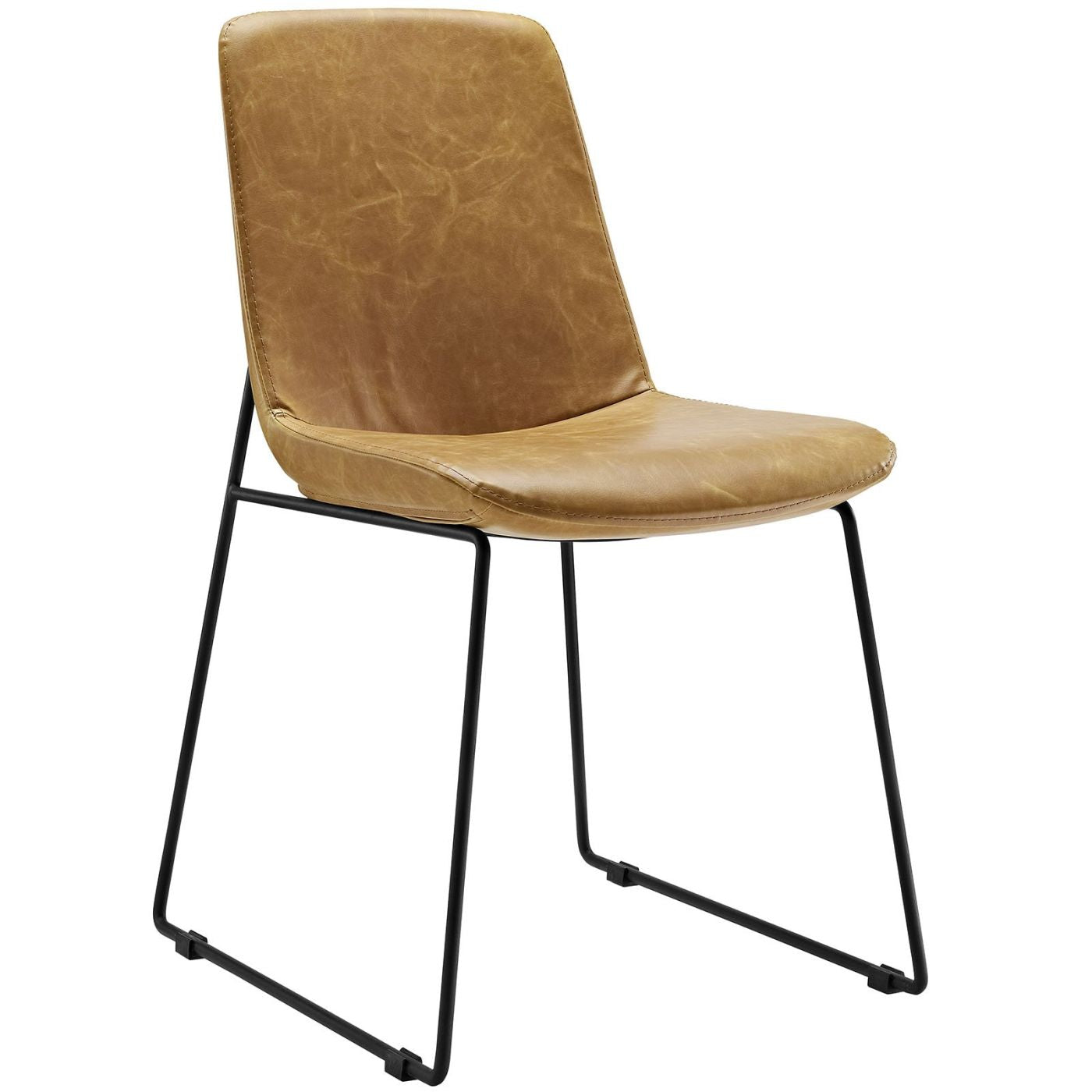 leather side chairs. Invite Dining Side Chair Stitched Faux Leather Tan Chairs