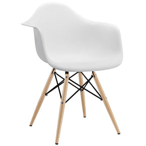Dining Chairs - Modway EEI-182-WHI Pyramid Mid-Century Modern Dining Armchair Molded Plastic | 848387023379 | Only $78.25. Buy today at http://www.contemporaryfurniturewarehouse.com