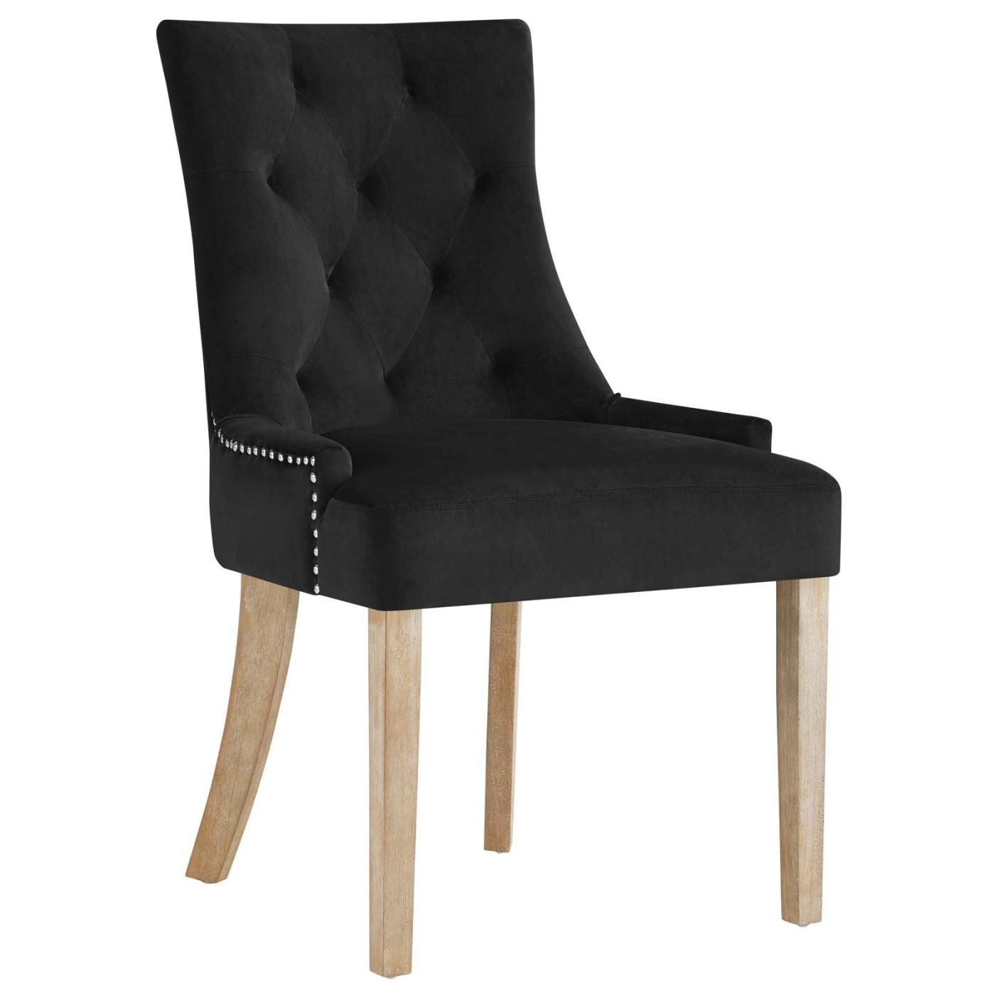 Pose upholstered fabric dining chair black