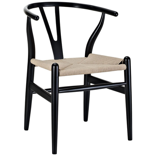 Dining Chairs - Modway EEI-552-BLK Hans Wegner Style Wishbone Dining Armchair Wood | 848387005900 | Only $170.05. Buy today at http://www.contemporaryfurniturewarehouse.com