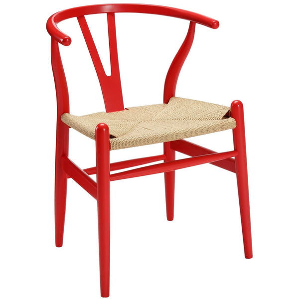Dining Chairs - Modway EEI-552-RED Hans Wegner Style Wishbone Dining Armchair Wood | 848387005917 | Only $166.00. Buy today at http://www.contemporaryfurniturewarehouse.com