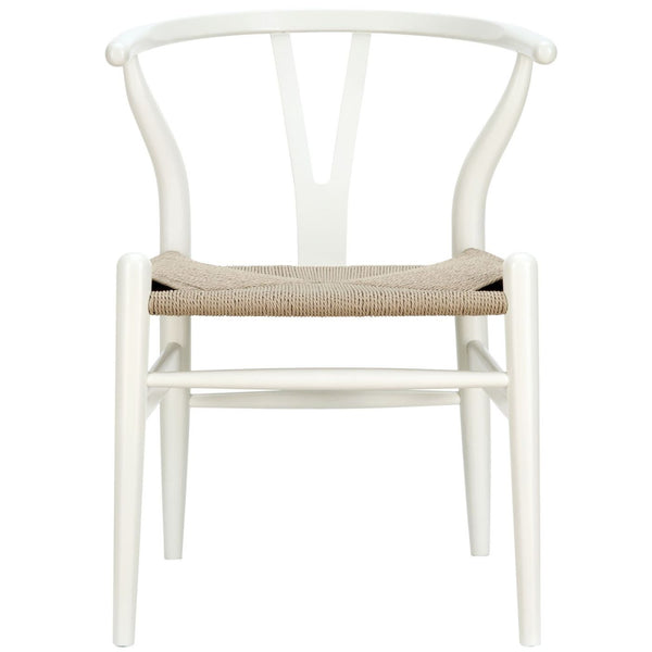 Dining Chairs - Modway EEI-552-WHI Hans Wegner Style Wishbone Dining Armchair Wood | 848387025267 | Only $171.30. Buy today at http://www.contemporaryfurniturewarehouse.com