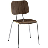 Motive Modern Dining Wood Side Chair Molded Plywood Walnut