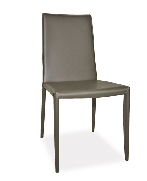 Lusso Dining Chair Charcoal (Set Of 2) Bonded Leather Steel Frame