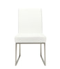 Tyson Dining Chair White (Set Of 2) 60% Polyurethane, 10% Cotton, 30% Polyester Brushed Stainless Steel Frame