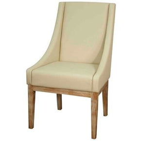 Houston Bonded Leather Chair Natural Wood Leg Cream Dining