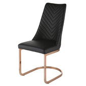 Kyla Chair Rose Gold Legs Black (Set Of 4) Dining