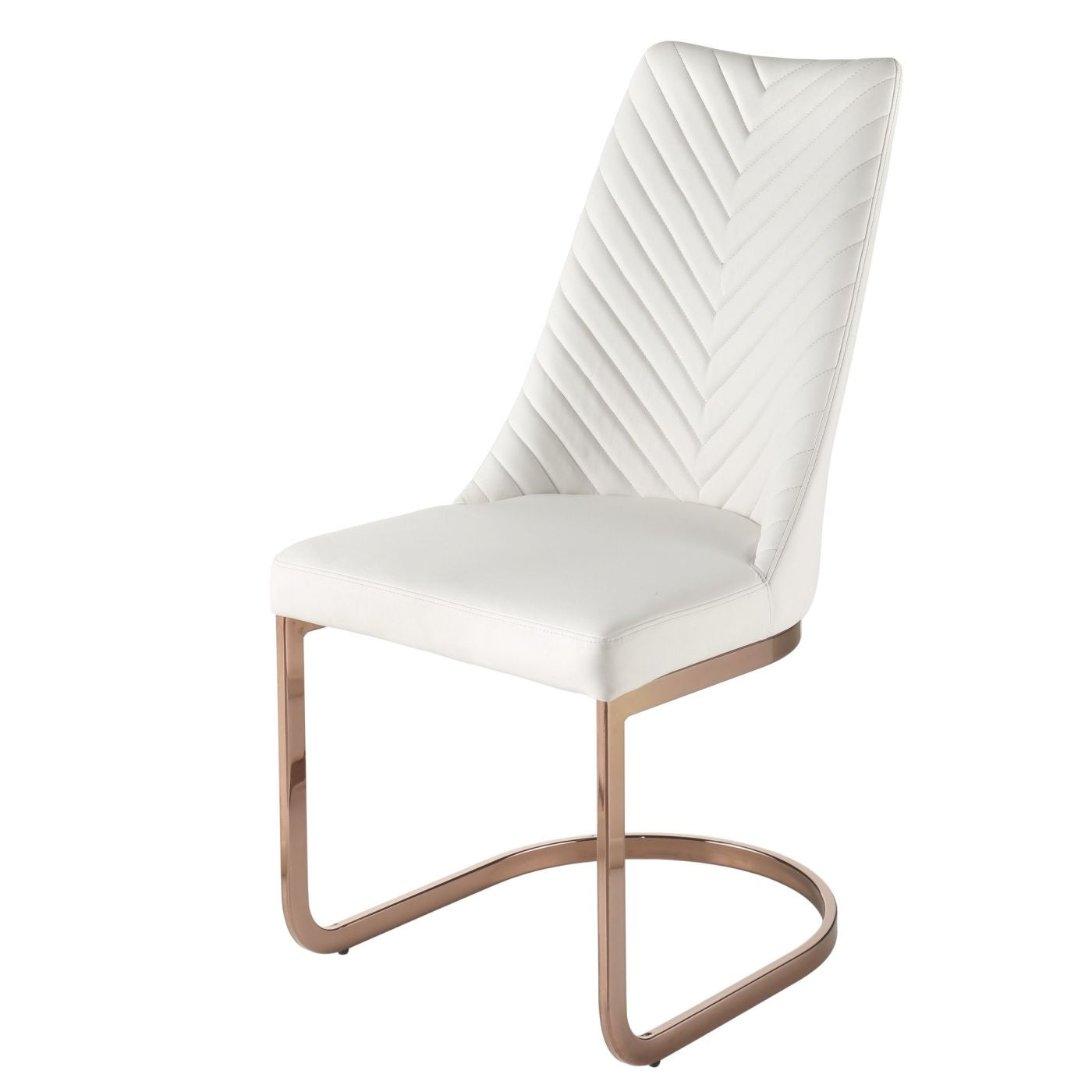New Pacific Direct Kyla Chair Rose Gold Legs White Set