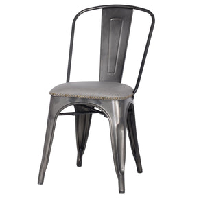Metropolis Pu Leather Metal Side Chair Vintage Mist Gray (Set Of 4) Dining
