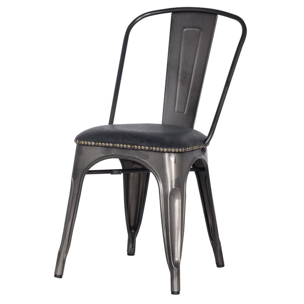 Metropolis Pu Leather Metal Side Chair Vintage Black (Set Of 4) Dining