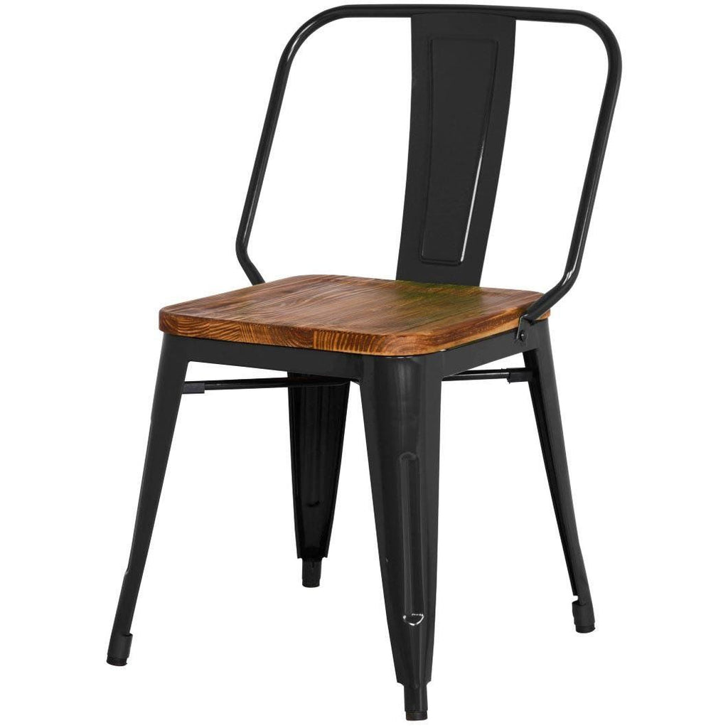 Brian Industrial Metal Side Chair Wood Seat, Black (Set Of 4) By New  Pacific Direct | 938232 B