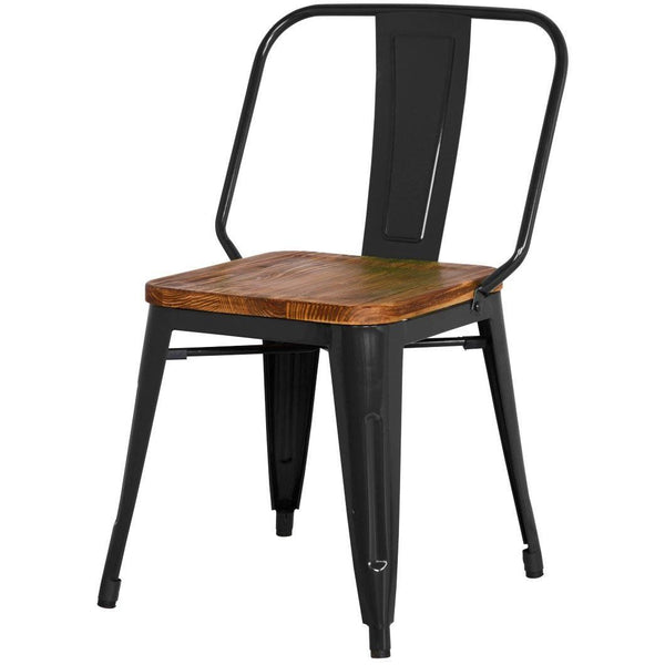 Brian Industrial Metal Side Chair Wood Seat Black (Set Of 4) Dining