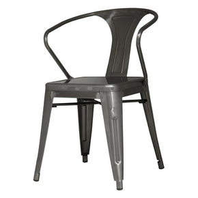 Metropolis Metal Arm Chair Gunmetal (Set Of 4) Dining