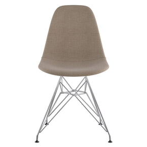 Mid Century Eiffel Side Chair Light Sand Stainless Steel With Brushed Nickel Finish Dining
