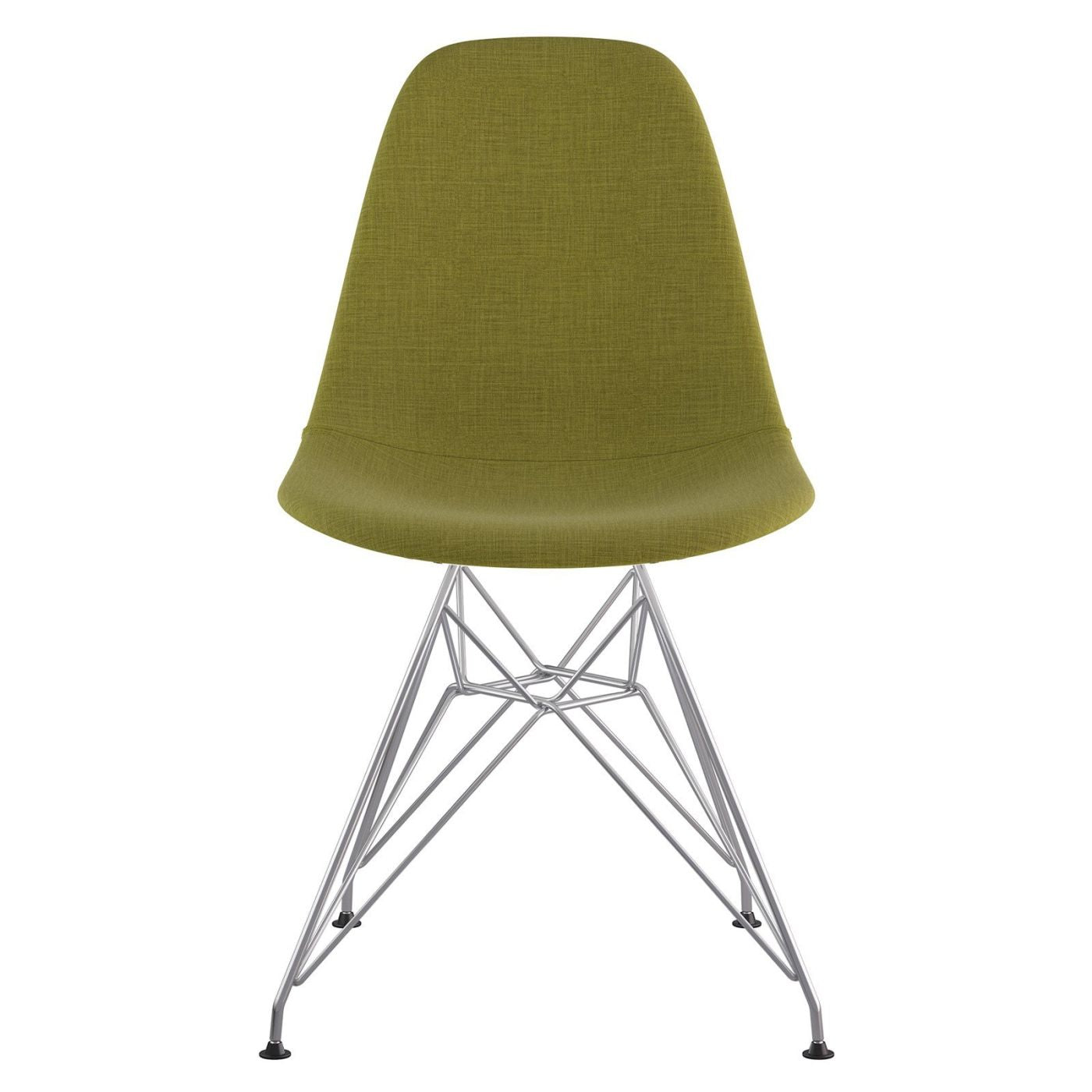 Beau Mid Century Eiffel Side Chair Avocado Green Stainless Steel With Brushed  Nickel Finish Dining ...
